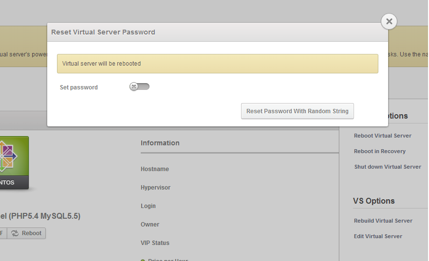 reset virtual server password
