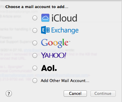 Choose a mail account...