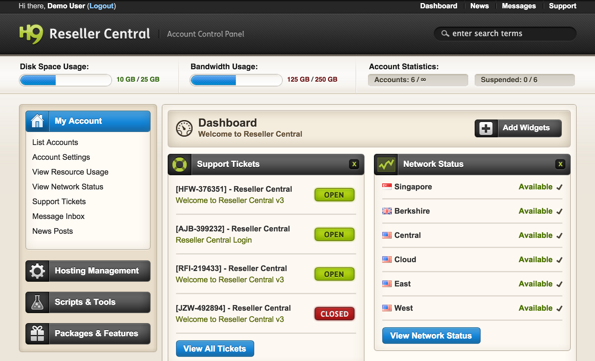 Reseller Central Dashboard